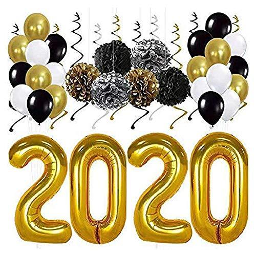 Paquete de 38 Kit de Decoraciones de Globos de Oro 2020 | Remolinos de Fiesta Colgantes de Oro Negro Plateado, Kit de Suministros de Fiesta de graduación de Pompones de Papel de Seda