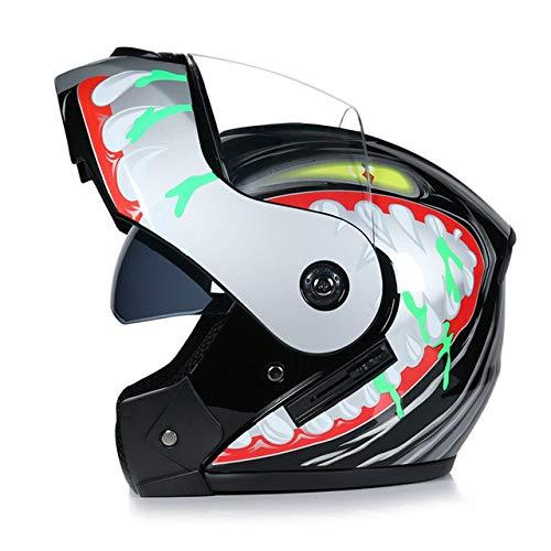 MYSdd Herren Flip Motorradhelm Dual Lens Anti-Glare mit interner Sonnenblende Modular Moto Racing Helm - d3 XM
