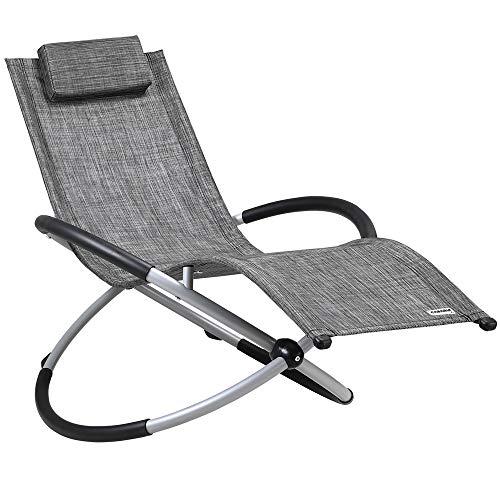 Casaria Relaxliege Neapel ergonomisch faltbar Schwungliege Schaukelsessel Sonnenliege Liege Gartenliege Relaxsessel grau