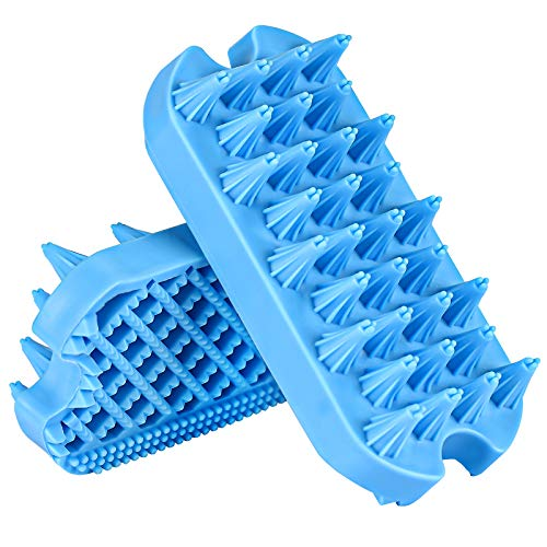 Dog Grooming Brush, Aufew Silicone Dual Side Pet Bath Brush for Deshedding & Massaging, Hair Brush Comb for Pet, Puppy, Cats (Blue)