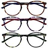 Opulize Met Pack 3 Gafas De Lectura Grande Redondo Marrón Púrpura Verde Hombres Mujeres Bisagras Resorte RRR60-256 +1,50
