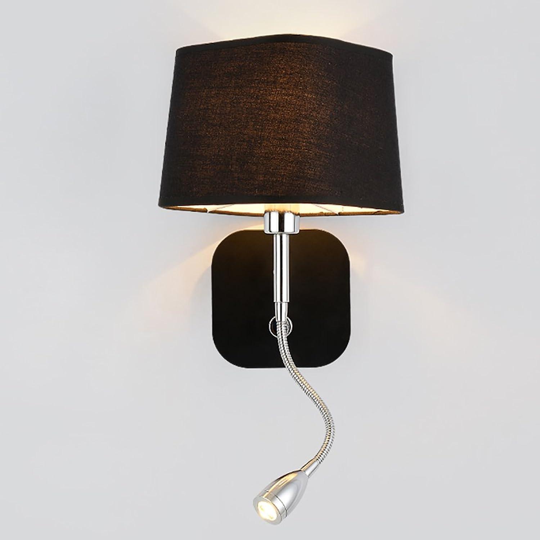 HN Lighting Kreative Wandleuchte, Bedside Leselicht Led Wandleuchten Einfache Hotel Wohnzimmer Lichter, Schwarz Creme Farbe mit Schalter, E14 (Farbe   Schwarz)