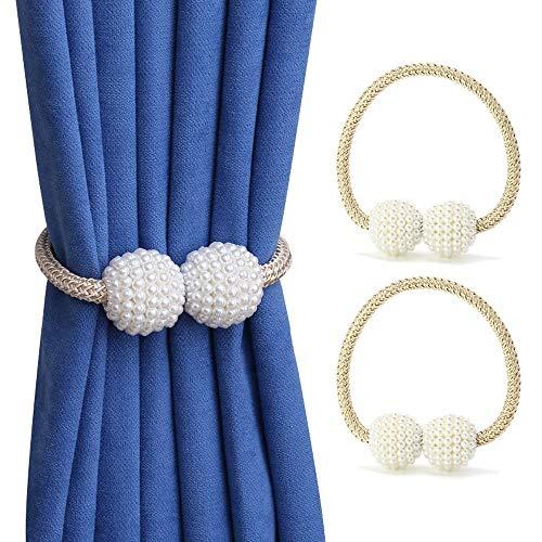Hs&sure 2 Paquete Magnético Cortina Tiebacks, Cortina de Perla de Pearl Holdbacks para la Oficina de Oficina del Hotel Decoración de la Ventana (Color : Beige)