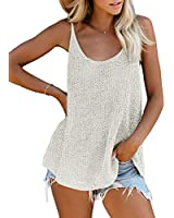 LOSRLY Womens Summer Scoop Neck Knit Sleeveless Blouses Camisole Tops Soft Flowy Tank Tops Shirts S White