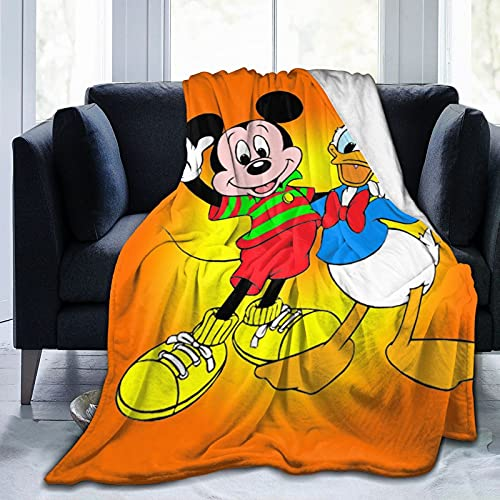 Manta de microfibra de forro polar de Mickey Minnie Mouse Donald Duck ultra suave, apta para cama y sofá en todas las estaciones, 156 x 150 cm