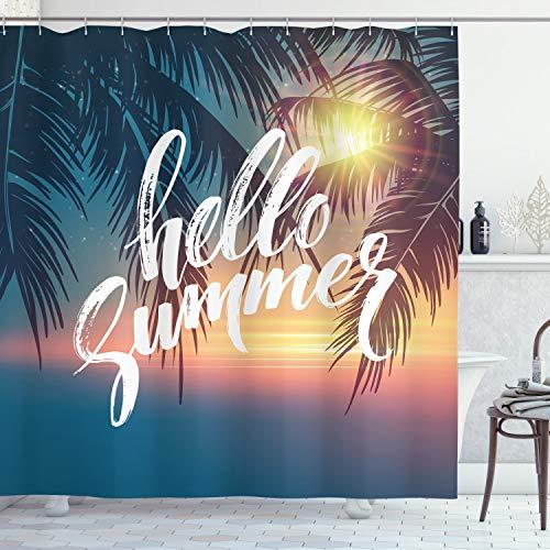 ABAKUHAUS Palmboom Douchegordijn, Tropic Paradise Beach, stoffen badkamerdecoratieset met haakjes, 175 x 180 cm, Blauw en Oranje