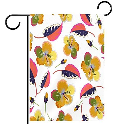 Bienvenida Flor Guirnalda Jardín Bandera Patio Doble Cara Flores tropicales Hibiscus floral Banderas florales de jardín para patio césped hogar decoración exterior primavera