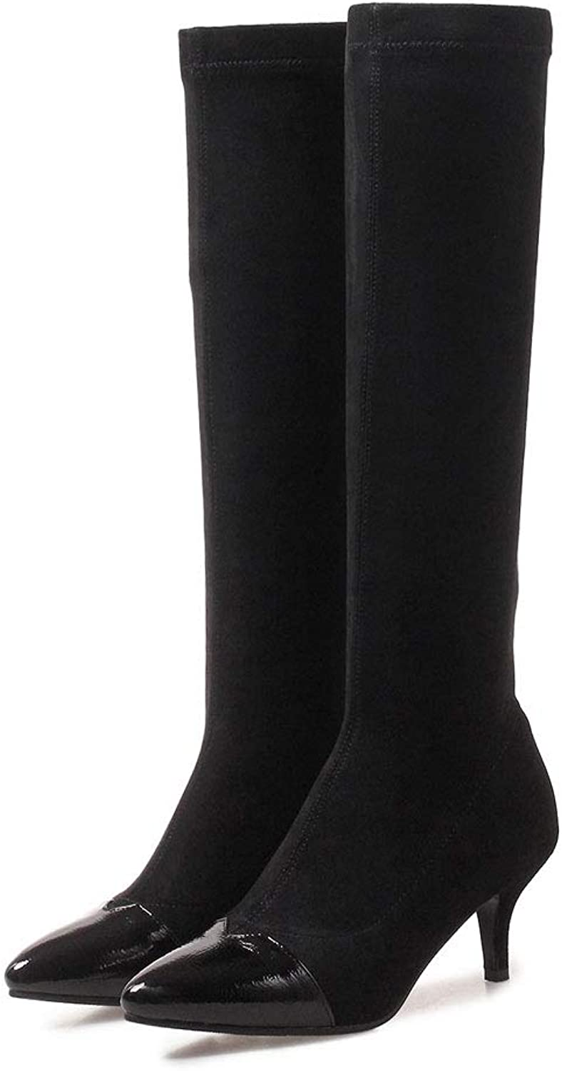 Fashion High Boots, Stiletto Heel Pointed Knee Boots Waterproof Platform Elastic Long Boots Non-Slip Warm Ladies shoes