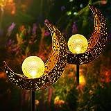 2er Solarlampe für Außen, Lavavi Metall Mond-Form Solarleuchten LED Stake Dekorative Gartenfahlständer Solarleuchten im Freien Gartendeko für Terrasse, Weg, Hof, Rasen