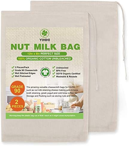 Yihihi Premium Nut Milk Bags 100 Organic Cheesecloth Bags 8 x 12 2 Pieces Unbeached Natural product image