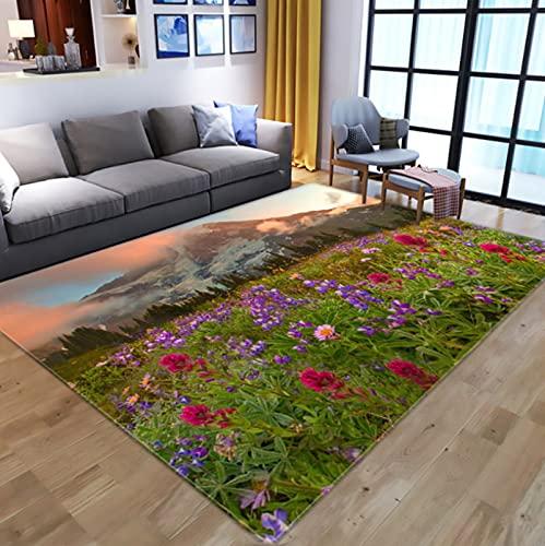 Creativity Flowers 3D Digital Printed Carpet, Kids Room Play Area Rugs Hallway Floor Mat Home Decor Large Carpets For Living Room 180X270Cm