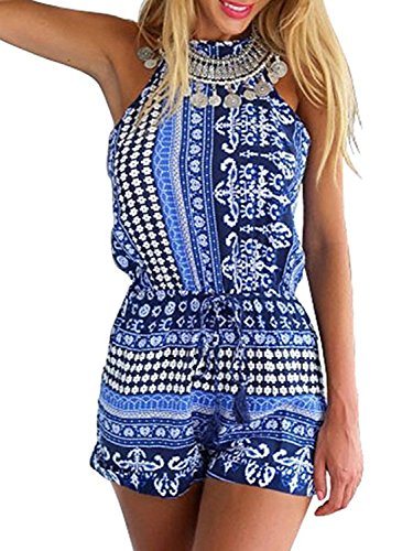 CHOiES record your inspired fashion Women's Polyester Blue Cut Out Back Bohemian Casual Loose Romper Playsuit XL