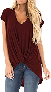 Domple Womens V Neck Plus Size Short Sleeve Twist Knot Front T-Shirt Blouse Tops