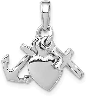 Ancre croix /& Coeur Charme Argent Sterling .925 À Rhodium Pendentif /& Collier