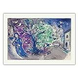 VCFHU Marc Chagall Famosa Pintura Al óLeo Caza De PáJaros De Daphnis Y Chloé Lienzo Arte De Pared Cuadros Ilustraciones Poster Impresiones Decoracion del Hogar 50x70 Cm Sin Marco