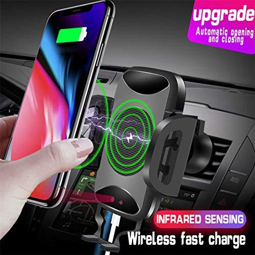 RUNNG Drahtloses Autoladegerät, 10W Qi-Schnellladelüftungstelefonhalter für Samsung Huawei iPhone