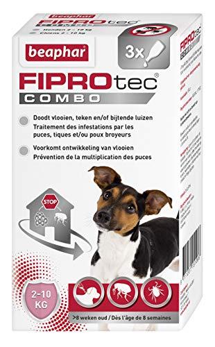 Beaphar – FIPROTEC COMBO au Fipronil et (S)-Méthoprène dosés à 67 mg/60,3 mg – Solution spot-on pour petits chiens (2-10 kg) – Agit contre puces, tiques et poux broyeurs – 3 pipettes de 0,67 ml