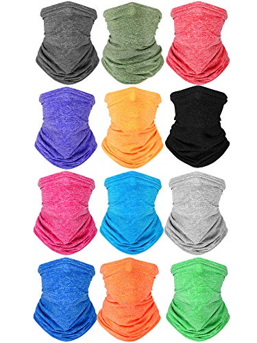 Kids Neck Gaiters Bandana Reusable UV Protection Face Covering Scarf Washable Balaclava for Boys Girls (12 Colors,12 Pieces)