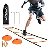 YISSVIC Agility Ladder and Cones 20 Feet 12 Adjustable Rungs Fitness Speed Training Equipment, 20...
