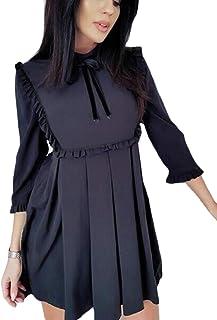chenshiba-JP レディースカジュアル3 / 4スリーブ春平野ルーズプリーツショートドレス
