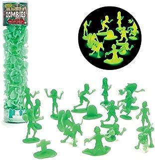 SCS Direct Zombie Action Figures - Big Bucket of 100 Glow in The Dark Zombies - Includes Zombies, Zombie Pets, Gravestones, and Humans for Halloween Parties