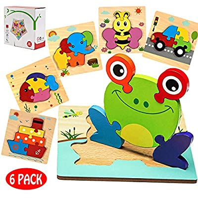 Wooden Jigsaw Puzzles Toddlers Toys - Montessori Toys Animals Vehicle Shape Preschool Puzzles Set for Children, 1 2 + Year Old Boys & Girls, Shape Color Learning Educational Blocks Kids Gift (6 Pack)