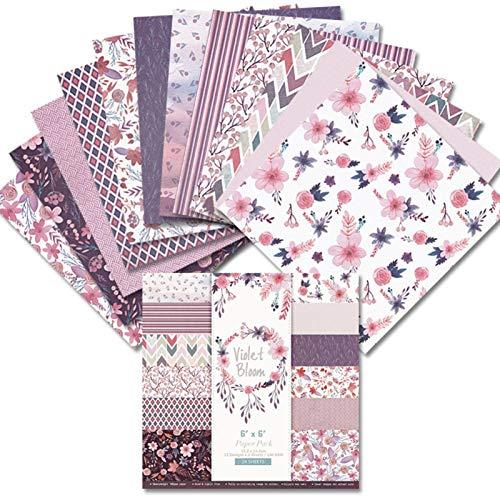 wangstar 24pcs Papier DIY handgemachtes 6inch Hintergrundpapier Geschenkpapier Bastelpapier Kunstdruckpapier einseitiger Druck Postkarte Blumenfotoalbum Scrapbooking