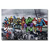 Faicai Art Comic Heros Collection Posters Batman Superman Spider Man Green Giant Wall Art Canvas Prints Pop Art Wall Decor Black and White Home Decorations for Kids Room Bedroom Stretched 12'x16'