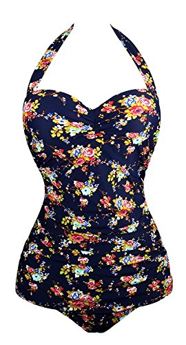 Angerella Retro Vintage Floral One Piece Pin Up Monokinis Swimsuit Navy,2XL