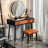 YOURLITE Makeup Vanity Table Set with 3 Modes Adjustable Lighted Mirror Cushioned Stool,Orange PU Leather Dressing Table