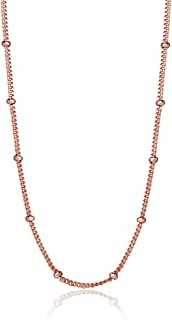 Sterling Silver 2mm Bead Station Cable Chain Necklace, 16-30 Inches