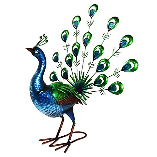 Primus Lifelike Metal Hand Painted Vibrant Fan Tail Peacock Garden Ornament for Indoor or Outdoor Use - Lifesize, Realistic