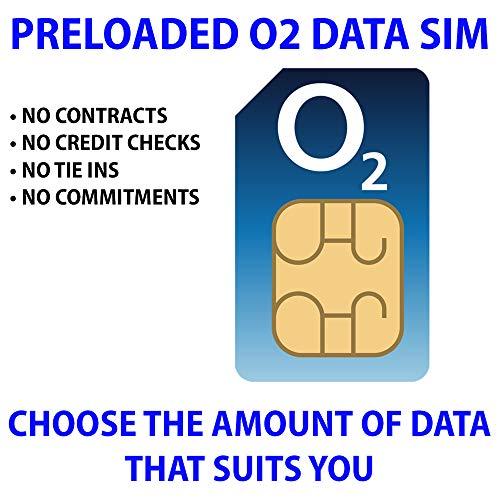 O2 Daten-SIM-Karte, vorgeladen mit 100 GB 4G/5G Daten. Inklusive 25 GB zu Roam kostenlos in 47 Ländern. Keine Verträge, keine Verpflichtungen, keine Kreditkarten, keine Bindungen. (gültig für 1 Monat)