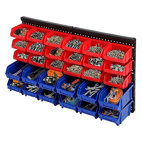 Ejoyous 30 Stück Stapelboxen Wandregal, Wandplatten Erweiterbar Werkstattregal Werkzeuglochwand Stapelkisten Schraubenregal Schüttenregal für Garagenwerkstatt-Aufbewahrungssystem Behälterregal