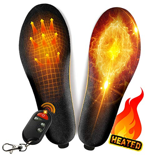 winna Rechargeable Heated Insoles, Wireless Foot Warmer with Remote Control (3 Temperature Settings) for Women Men Outdoor Hunting Fishing Hiking Camping (S-Women's 5.5-10, Men's 4.5-8)