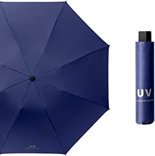 Vinyl Double Folding Umbrella Automatic Dual Barometer,Navy Blue Heaven,535 * 8k