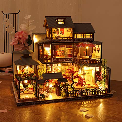 adfafw Casas de muñecas DIY Asamblea Cabaña Cabaña de Madera Casa Hecha a Mano con Movimiento Musical Modelo de casa de luz led para Regalo Innovador