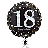 Amscan 3323901 - Standard Folienballon Happy Birthday 18, Durchmesser circa 43 cm, Heliumballon, Geburtstag