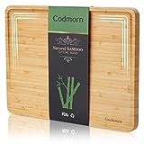 Godmorn Tabla de Cortar de bambú, Gran Tabla de Cortar Cocina con Ranura para Zumo, Tabla de Madera de diseño Inclinado Mejorado 2021, 93% de Superficie útil - 38,9x29x2 cm