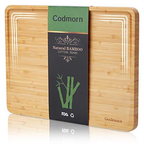 Godmorn Bambus Schneidebrett, großes Holz-Brett Hackbrett mit Saftrille für die Küche, 2021-verbessertes geneigtes Design Holzbrett, 93% Nutzfläche - 38.9x29x2 cm