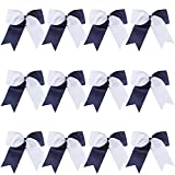 8 Inch 2 Colors Jumbo Cheerleader Bows Ponytail Holder Cheerleading Bows Hair (Navy blue/White)
