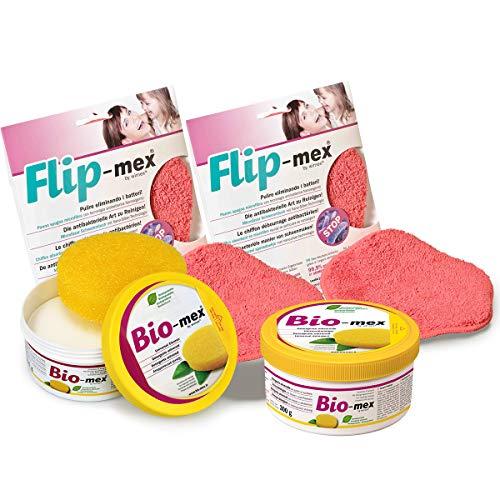 Bio-mex Universalreiniger Putzstein biologisch abbaubar (Inkl. Reinigungsschwamm) + Flip-mex Putztuch mit antibakteriellem Gewebe (2 Bio-mex 300gr + 2 Flip-mex)
