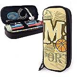 huatongxin MS Sport Basketball Cute Bolígrafo Estuche para lápices Cuero Gran capacidad Cremalleras dobles Estuche para lápices 20cm*9cm*4cm