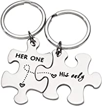 CoupleKeychain Gifts for Husband Wife Him Her PuzzleKeychain Set of 2 Key Ring Charm ValentinesDay Wedding Anniversary Christmas Gifts (Her One His Only)