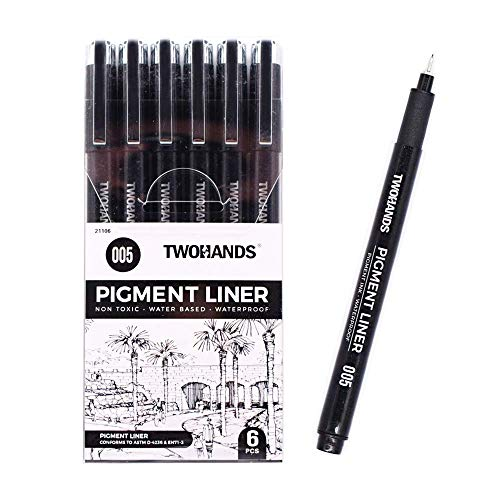 TWOHANDS Micro Drawing Pens, Fineliner Ink Pens,Bible Pens,No Bleed,Extra Fine Point Tip,0.2mm,Black,Waterproof, 005, 6PCS, 21106