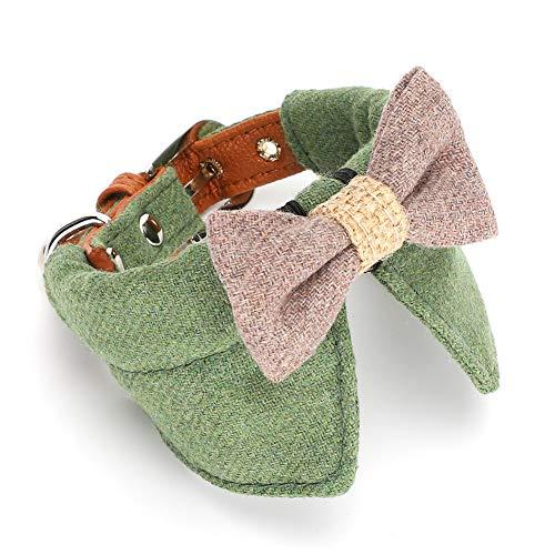 ffu Collar De Mascotas Verde Gruesa Pie Grande Bow Tie Pequeño Y Pequeño Collar De Perro