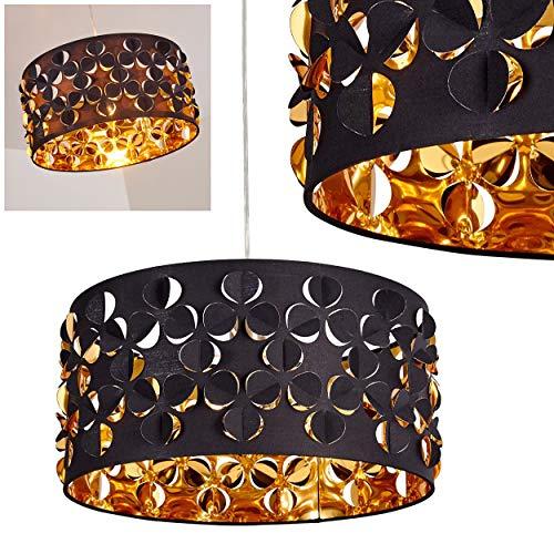 Lámpara colgante redonda Firefly de metal níquel mate y tejido en negro/oro, 1 x E27 máx 60 vatios (bombillas no incluidas), ideal para salón, comedor