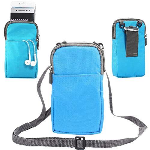 jbTec Handytasche zum Umhängen 180x110x35mm Nylon klein - Gürteltasche Handy Umhängetasche Gürtel Tasche Hüfttasche Case, Farbe:Blau