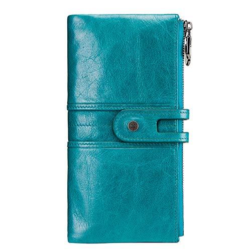 レディース 財布 Meikira 大容量 長財布 ファスナー付 スナップ ダブルボタン 本革製 がまぐち 二つ折り イタリアンレザー 人気 おしゃれ 5色 (ブルー)