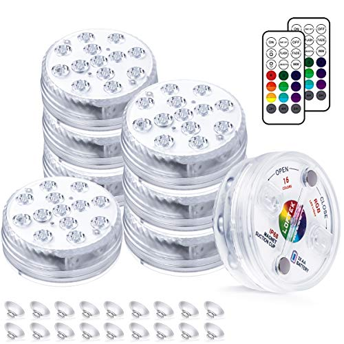LOFTEK Submersible LED Lights with Remote 8 Packs, Magnets Pool Lights with Suction Cups for Inground Pool, Full Waterproof Color Changing Underwater Lights for Ponds 164FT Battery Operated, 20 Hours